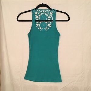 Tops - Teal Green Lace Racer back cotton shirt. Sz. S